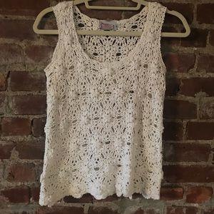 Vintage Off White Handmade Crochet Top